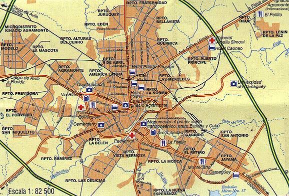 cuba mapa com Camaguey city map