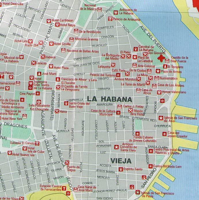 cuba mapa com Old Havana map