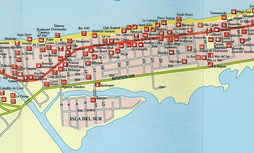 varadero mapa cuba mapa .  Varadero city map varadero mapa